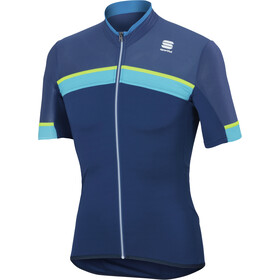Sportful Pista Maillot Manga Corta Hombre, blue twilight/electric blue/yellow